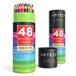 Arteza Lápices de acuarela con forma triangular | Lapiceros ergonómicos pre afilados | Pack de 48 lápices acuarelables | 48 colores diferentes