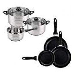 San Ignacio Premium - Batería de cocina de 3 piezas (1.6L, 2.3L, 3.3L) y Set de 3 sartenes (16-20-24 cm), aluminio prensado antiadherente, apto para todo tipo de cocinas incluido inducción