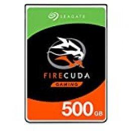 Seagate FireCuda, 500 GB, Disco duro interno híbrido, SSHD de alto rendimiento, 2,5 in, SATA, 6 Gb/s, aceleración mediante flash, caché de 8 GB para videojuegos, PC y portátiles (ST500LX025)