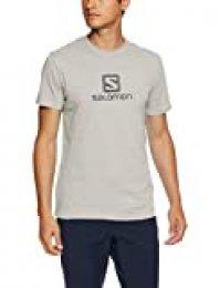 SALOMON Coton Logo SS tee M Camiseta Deportiva de Manga Corta, Algodón, Hombre, Gris (Alloy), XL