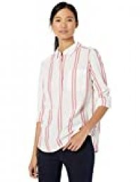 Goodthreads Washed Cotton Popover Shirt Button-Down-Shirts, White/Rose Double Stripe, US M (EU M - L)