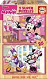 Educa Borrás- Mickey and The Roadster Racers 2 Puzzles Infantiles de Madera ecológica, 25 Piezas, Minnie Happy Helpers, a Partir de 36 Meses, Multicolor (17625)