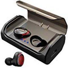HolyHigh Auriculares Bluetooth 5.0 con 3000mAh Estuche de Carga CVC8.0 Cascos Bluetooth Inalámbricos Impermeable con Micrófono para Deportes, Gimnasio para iOS, Android, Samsung, Huawei(Luz Rojo)