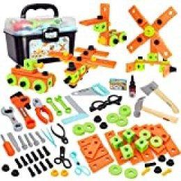 Buyger 82 Piezas Maletin Herramientas Juguetes Bricolaje Construccion Caja Herramientas Juego de Imitación para Niños Infantil 4 5 6 7 Años