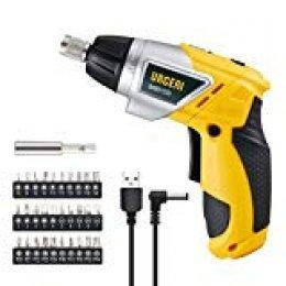 URCERI Atornillador Destornillador Eléctrico Inalámbrico, 4.0 N.m 2000mAh Batería, Velocidad Ajustable 6 + 1,30 Puntas, 1 Portapunta, LUZ LED, Cargador USB