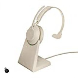 Jabra Evolve2 65 Auriculares Inalámbricos Monoaurales con Soporte de Carga - Certificados para Plataformas UC - Batería de Larga Duración - Adaptador Bluetooth USB-C - Beige