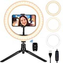 """Teaisiy Luz de Anillo LED, Aro de Luz 10.2"""" Fotográfica de Escritorio con 3 Modos 10 Brillos Regulables Anillo de Luz para Maquillaje, Youtube Video, Selfie ect"""