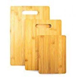 Home Treats Set de 3 tablas de cortar de bambú | 3 tablas de cortar orgánicas para carne, verduras y queso | Bandeja para servir alimentos
