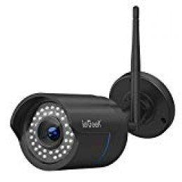 Cámara de Vigilancia Exterior,ieGeek Cámara IP Wi-Fi HD 1080P, Versión Nocturna 25M, Impermeable IP66, Detección de Movimiento, Cámara de Seguridad, Empuje de Alarma, Vista Remota con Android/iOS/PC