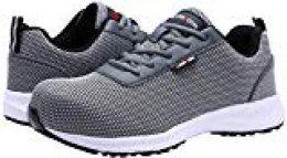LARNMERN Zapatos de Seguridad para Hombre con Puntera de Acero, LM-123, Zapatillas de Seguridad Trabajo, Calzado de Industrial y Deportiva (42 EU, Blanco grisáceo)