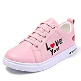 Zapatillas de Tenis para niñas, Harpia Adolescentes niños Lindo Casual de bajo-Top Entrenadores de Moda Zapatillas de Cuero tamaño EU 31-37 (Blanco, Negro, Rosa)