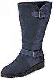 Joe Browns Happiness Buckle Wedge Boots, Botas Altas para Mujer, (Blue A), 8 EU