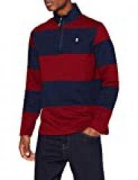 Izod Colorblock Stripe 1/4 Zip Fleece Sudadera, Rojo (Biking Red 620), M para Hombre
