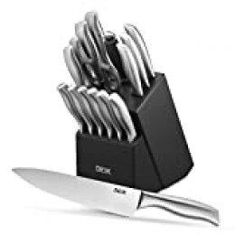 Deik Cuchillos Cocina, Set Cuchillos, Juego Cuchillos de Acero Inoxidable con Soporte de Madera Negra. Incluye Cuchillo Cocinero, Cuchillo de Carne, Cuchillo de Pan, Cuchillo de Frutas, Cuchillo de Ve
