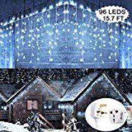 Luces de LED, Hezbjiti luces de carámbano 96 LEDs 13 ft, Blanco Frío, impermeable, 8 patrones de luz, navideños, fiestas, jardines, etc [Calificación de eficiencia energética A+]