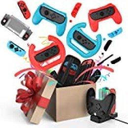 Kit de Accesorios para Nintendo Switch Games Bundle Funda de Transporte, Protector de Pantalla, Tapa de Joystick, Base de Carga, Agarre de Joy-con, Funda y Volante para Nintendo Switch(21 en 1)