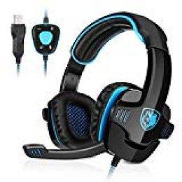 GHB Sades Auriculares Gaming Cascos con Microfono SA-901 Sonido Envolvente 7.1 con USB para PC Ordenador Portátil Azul y Negro