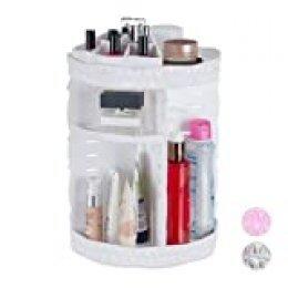 Relaxdays Organizador de maquillaje, Giratorio 360º, Acrílico, Neceser grande, Blanco