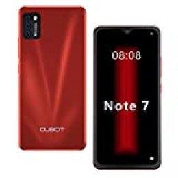 "CUBOT Note 7 Smartphone 5.5"" Teléfono móvil 4G 3100mAh Dual SIM Android 10.0, Triple Cámara 16GB ROM Face ID CUBOT Oficial,Rojo"