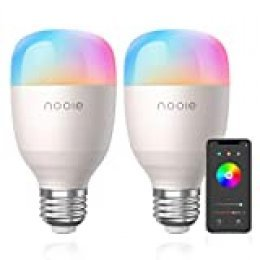 Bombilla LED Inteligente E27 10W Nooie Bombilla WiFi 2800K-6000K 800 Lúmenes multicolor de luz regulable Luz calida y RGB 16 Millones de Colores Funciona con Alexa y Google Home 2 unidades