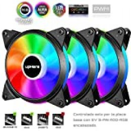 upHere PWM Ventilador PC 120mm,5V ARGB LED Ventilador para Ordenador apoyar el ASUS Aura Sync/GIGABYTE ARGB Fusion/MSI Mystic Light Sync/AsRock Polychrome Sync,Paquete de 3(T7SYC7-3)