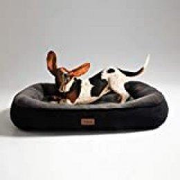 Bedsure Cama para Perros Pequeños Lavable M - Colchon Perro Cómoda de Felpa Muy Suave - Sofá de Perro 81x58x18cm,Negro