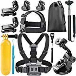 Neewer 8-en-1 Kit de Accesorios para Gopro Deportes cámaras, el Kit Incluye: Cabeza Monte + Pecho Monte, Manija Monópode + Soporte + empuñadura Mango Flotante y más