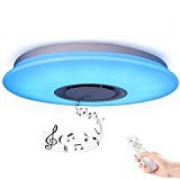HOREVO Plafón LED Lámpara de Techo Regulable con Altavoz Bluetooth 36W 50cm RGB Cambio de color, con mediante mando a distancia, Blanco Calido, ideal Para Salon, Dormitorio Fiesta