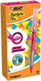 BIC Highlighter Flex - Pack de 12 marcadores, color rosa fluorescente