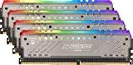 Crucial Ballistix Tactical Tracer BLT4K8G4D30AET4K RGB, 3000 MHz, DDR4, DRAM, Memoria Gamer Kit para ordenadores de sobremesa, 32GB (8GBx4), CL15