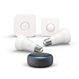 Echo Dot (3.ª generación), tela de color antracita + Philips Hue White and Color Starter Kit con 2 bombillas, Bluetooth y Telecomando Hue Smart Button